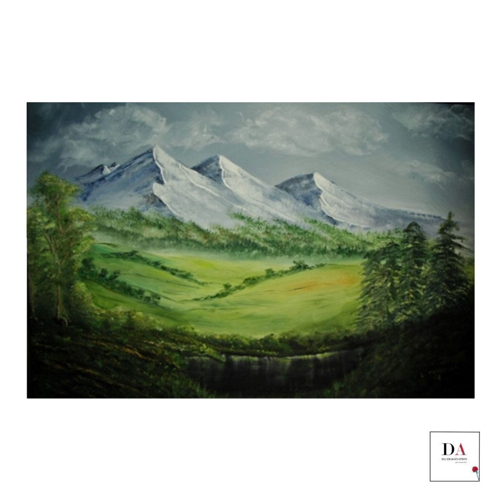 Tranquil Mountains, Oil on canvas